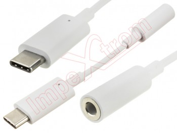 Adaptador blanco de Audio jack 3.5mm hembra a Micro USB tipo C macho