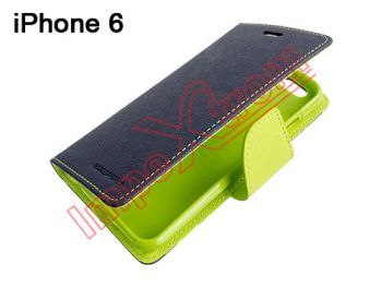Blue and green type diary with internal TPU support case for Apple Phone 6 4.7 inch, Phone 6S