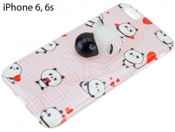 Funda TPU rosa con panda 3D achuchable  para iPhone 6 / 6S