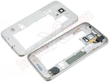 65a50124a84 Carcasa trasera, chasis trasero negro con marco central para Samsung Galaxy  S5, G900F