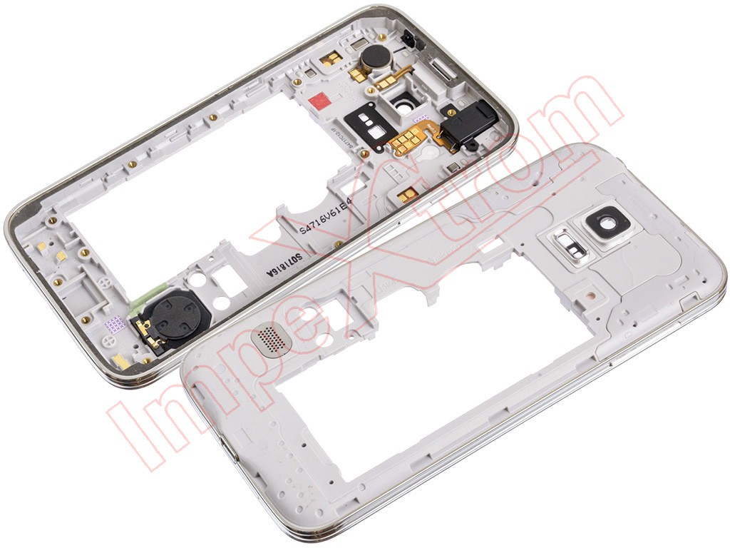 f0495cc8258 Carcasa central con componentes y marco plateado para Samsung Galaxy S5 mini,  G800F