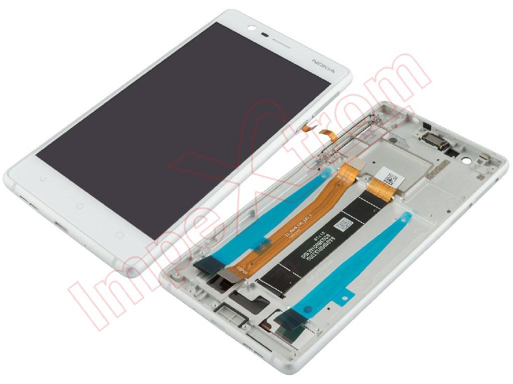 e6cde3e068f Pantalla completa (LCD/display + digitalizador/táctil) con marco Nokia 3,  blanca